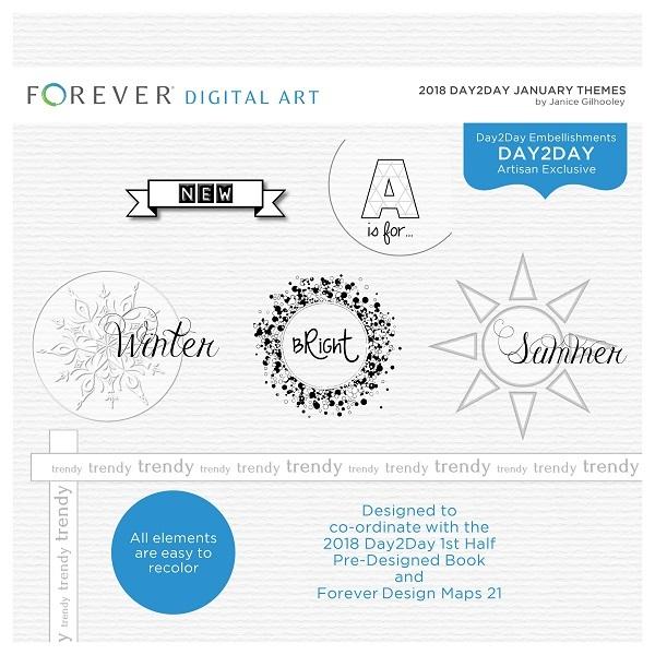 2018 Day2Day January Themes Digital Art - Digital Scrapbooking Kits