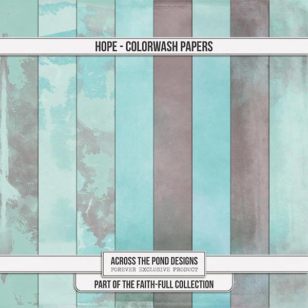 Faithfull - Hope - Colorwash Papers Digital Art - Digital Scrapbooking Kits