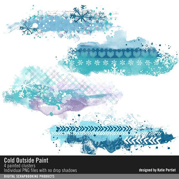 Cold Outside Paint Digital Art - Digital Scrapbooking Kits