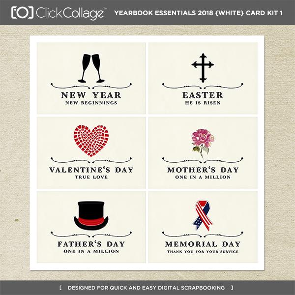 Yearbook Essentials 2018 (white) Card Kit 1 Digital Art - Digital Scrapbooking Kits