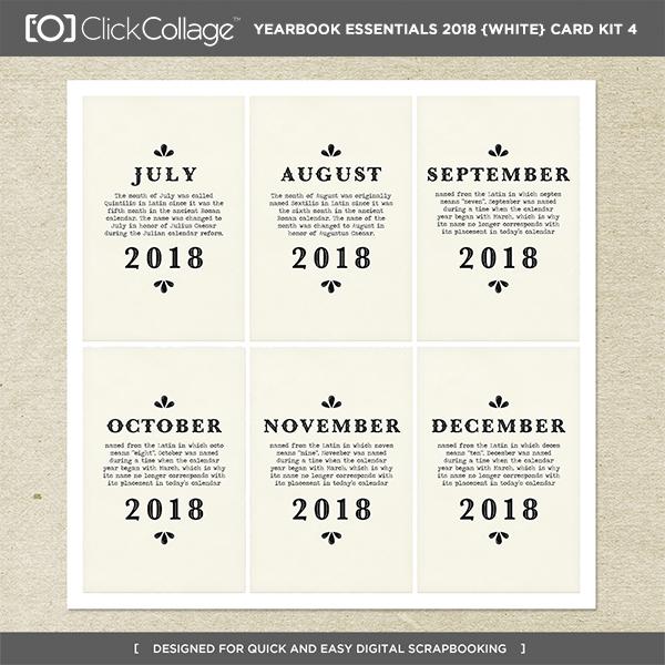 Yearbook Essentials 2018 (white) Card Kit 4 Digital Art - Digital Scrapbooking Kits