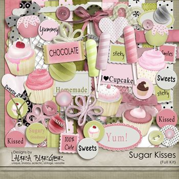 Sugar Kisses Scrap Kit Exclusive Digital Art - Digital Scrapbooking Kits