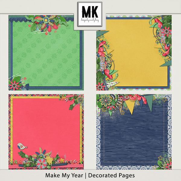 Make My Year - Decorated Papers Digital Art - Digital Scrapbooking Kits