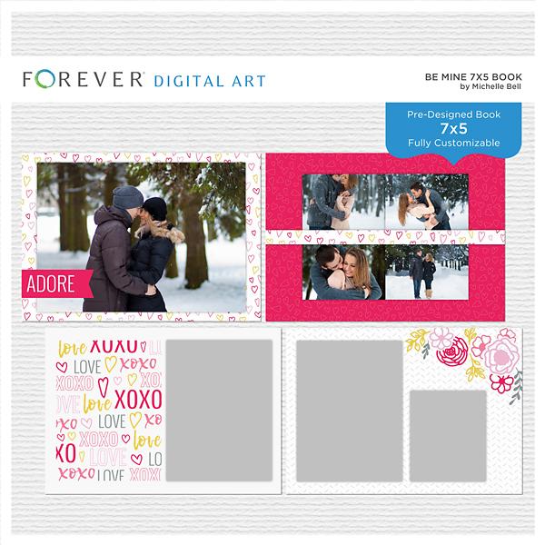 Be Mine 7x5 Book Digital Art - Digital Scrapbooking Kits