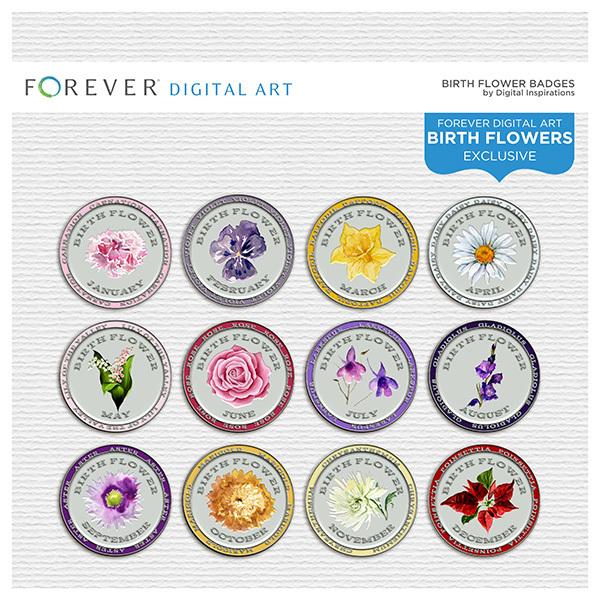 Birth Flower Badges Digital Art - Digital Scrapbooking Kits