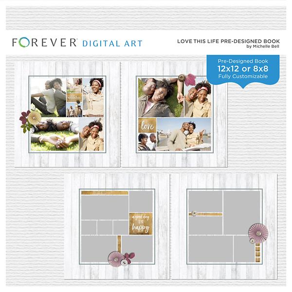 Love This Life Pre-designed Book Digital Art - Digital Scrapbooking Kits
