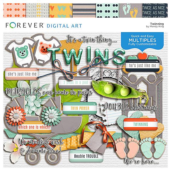 Twinning Digital Art - Digital Scrapbooking Kits