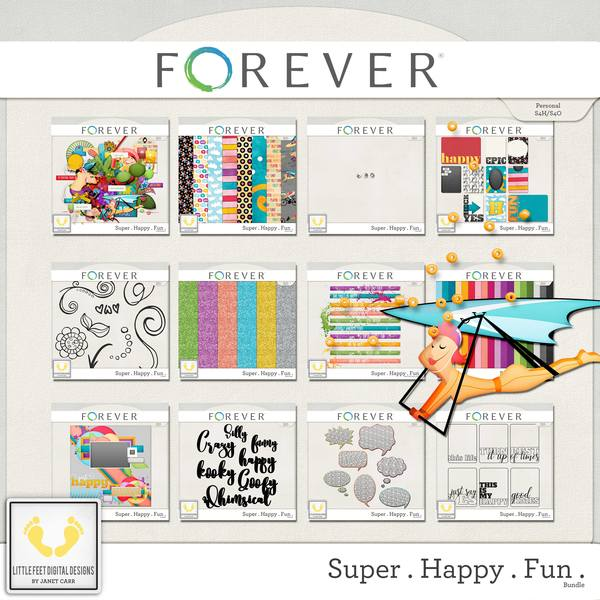 Super . Happy . Fun . Bundle Digital Art - Digital Scrapbooking Kits