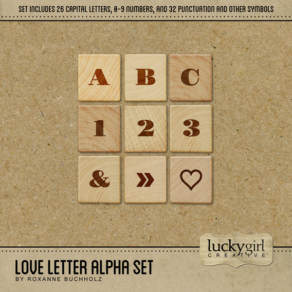 Love Letter Alpha Set Digital Art - Digital Scrapbooking Kits