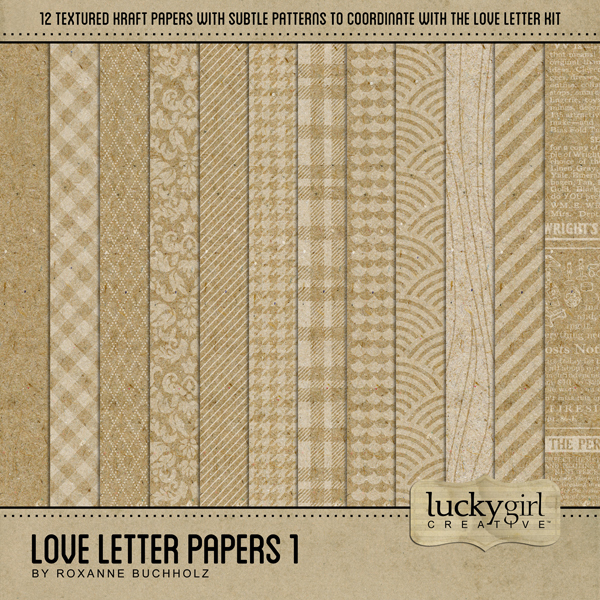 Love Letter Papers 1 Digital Art - Digital Scrapbooking Kits
