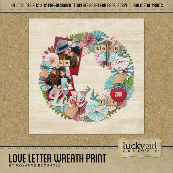 Love Letter Wreath Print Digital Art - Digital Scrapbooking Kits