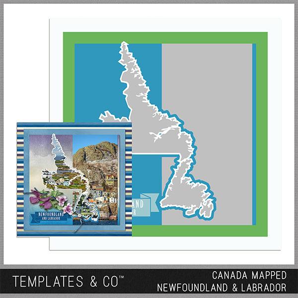 Canada Mapped - Newfoundland & Labrador Digital Art - Digital Scrapbooking Kits