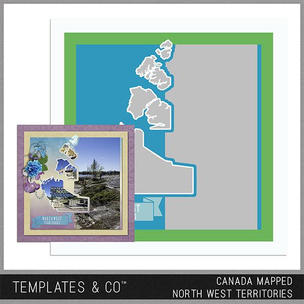 Canada Mapped - North West Territories Digital Art - Digital Scrapbooking Kits