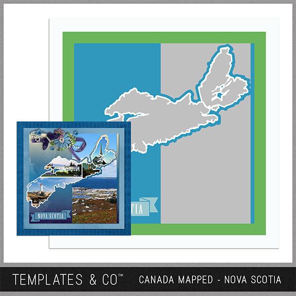 Canada Mapped - Nova Scotia Digital Art - Digital Scrapbooking Kits