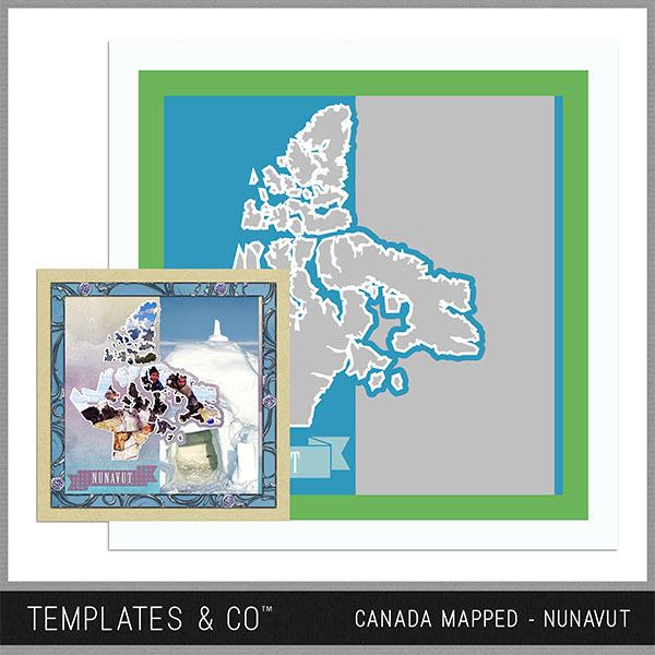 Canada Mapped - Nunavut Digital Art - Digital Scrapbooking Kits