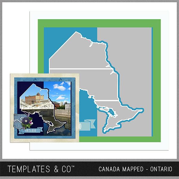 Canada Mapped - Ontario Digital Art - Digital Scrapbooking Kits