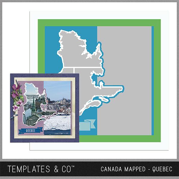 Canada Mapped - Quebec Digital Art - Digital Scrapbooking Kits