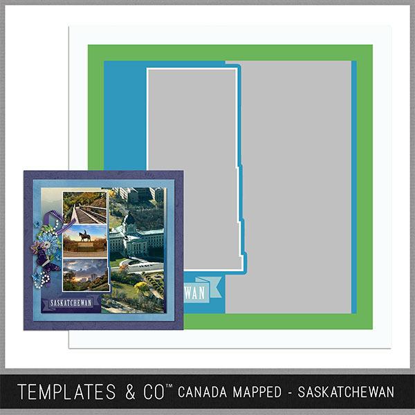 Canada Mapped - Saskatchewan Digital Art - Digital Scrapbooking Kits