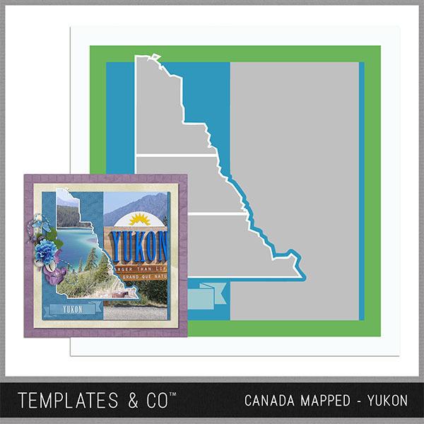 Canada Mapped - Yukon Digital Art - Digital Scrapbooking Kits