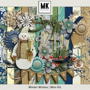 Winter Wishes - Mini Kit Digital Art - Digital Scrapbooking Kits