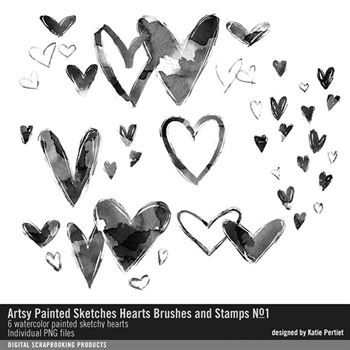 Artsy Painted Sketches Hearts Brushes And Stamps No. 01 Digital Art - Digital Scrapbooking Kits