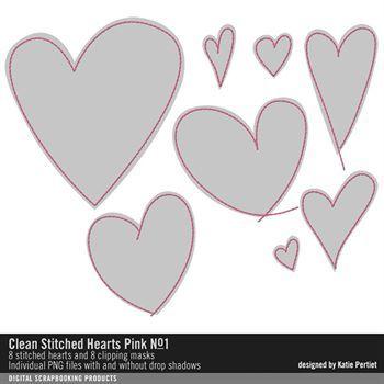 Clean Stitched Hearts Pink No. 01 Digital Art - Digital Scrapbooking Kits