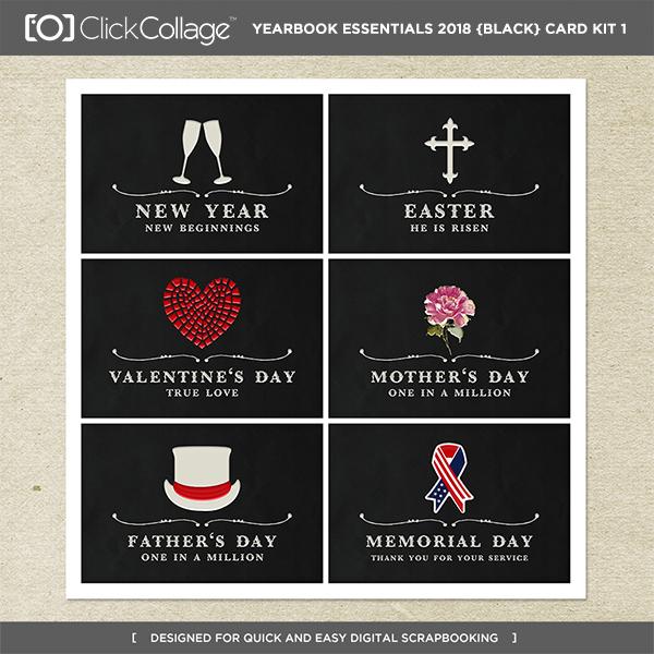 Yearbook Essentials 2018 (black) Card Kit 1 Digital Art - Digital Scrapbooking Kits