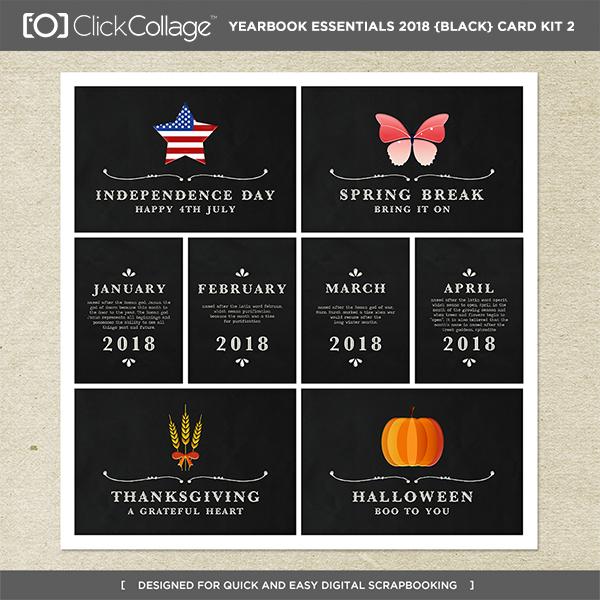 Yearbook Essentials 2018 (black) Card Kit 2 Digital Art - Digital Scrapbooking Kits