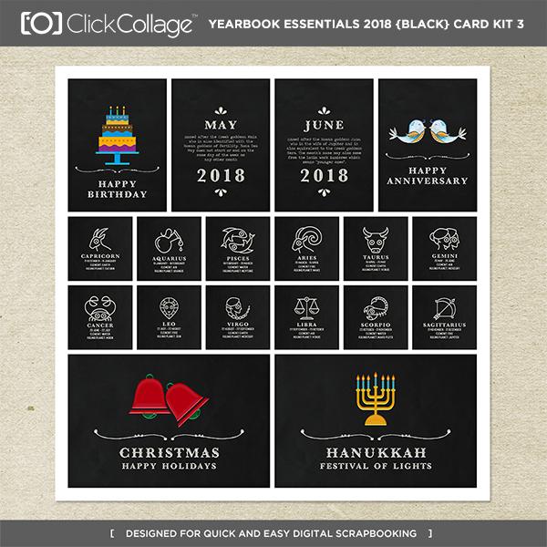 Yearbook Essentials 2018 (black) Card Kit 3 Digital Art - Digital Scrapbooking Kits