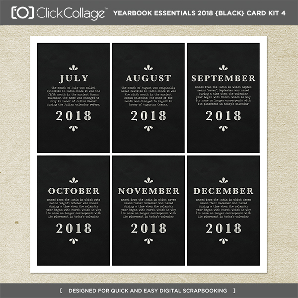 Yearbook Essentials 2018 (black) Card Kit 4 Digital Art - Digital Scrapbooking Kits