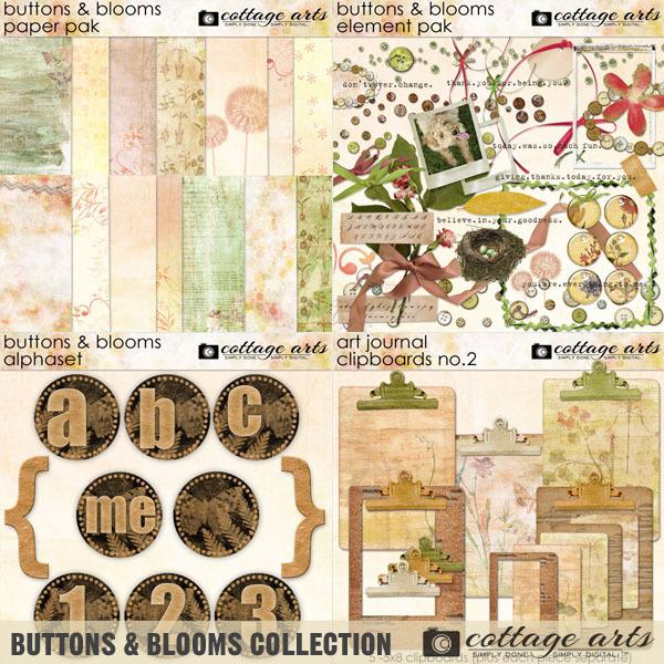 Buttons & Blooms Collection Digital Art - Digital Scrapbooking Kits