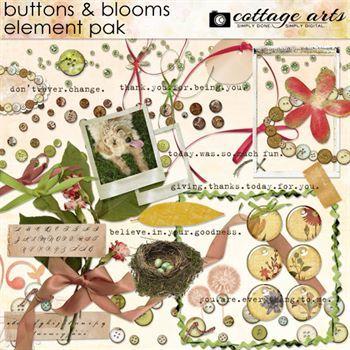 Buttons & Blooms Element Pak Digital Art - Digital Scrapbooking Kits