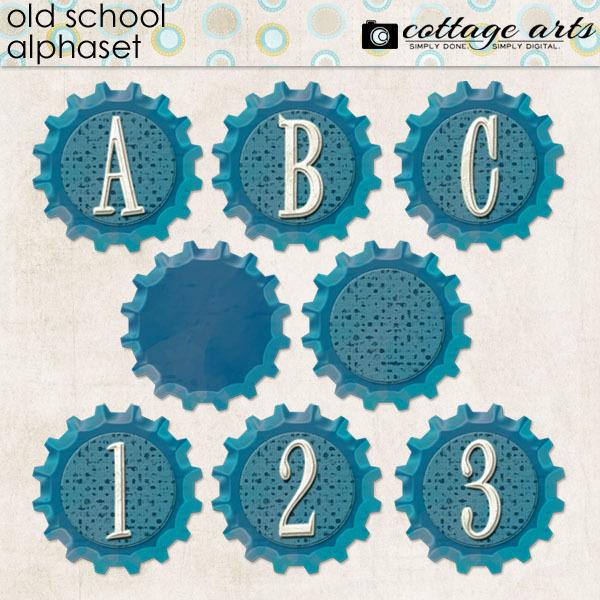 Old School Alphaset Digital Art - Digital Scrapbooking Kits