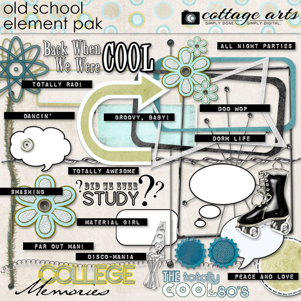 Old School Element Pak Digital Art - Digital Scrapbooking Kits