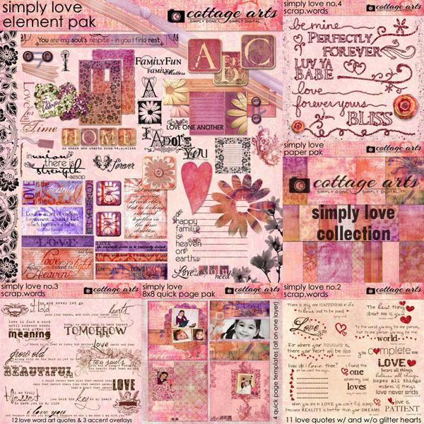 Simply Love Collection Digital Art - Digital Scrapbooking Kits
