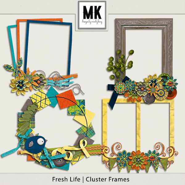 Fresh Life - Cluster Frames Digital Art - Digital Scrapbooking Kits