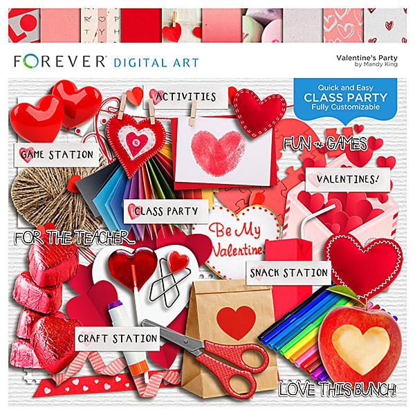 Valentine Party Digital Art - Digital Scrapbooking Kits