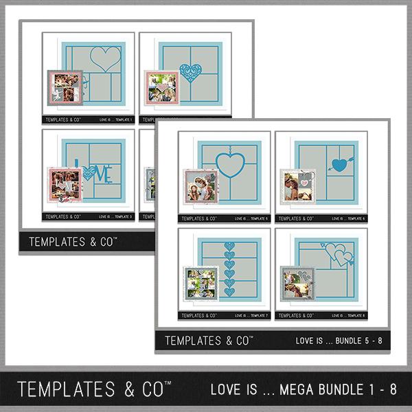 Love Is ... Mega Bundle 1 - 8 Digital Art - Digital Scrapbooking Kits