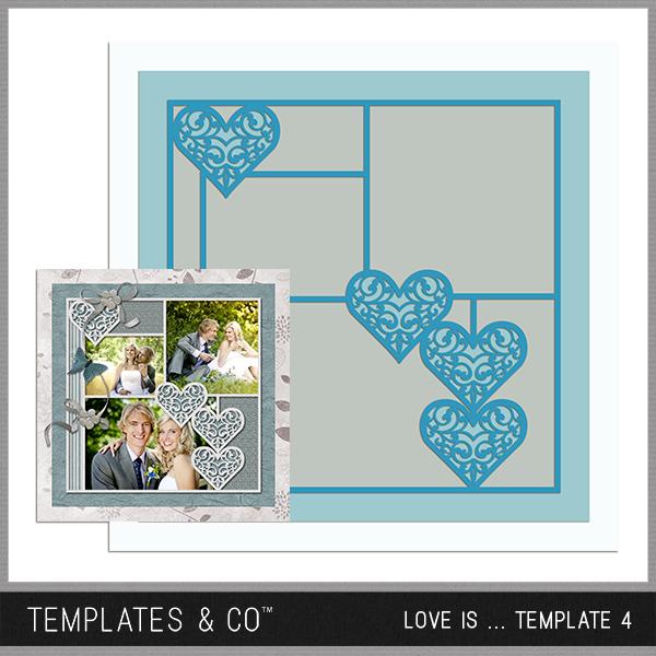 Love Is ... Template 4 Digital Art - Digital Scrapbooking Kits