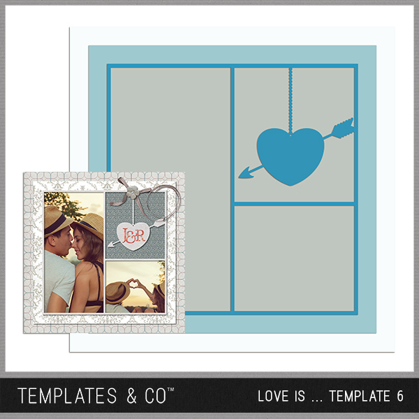 Love Is ... Template 6 Digital Art - Digital Scrapbooking Kits