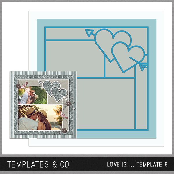 Love Is ... Template 8 Digital Art - Digital Scrapbooking Kits