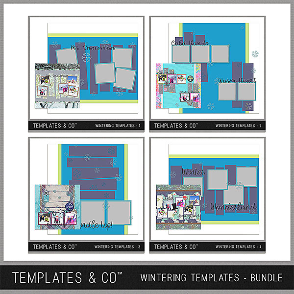 Wintering Templates Bundle Digital Art - Digital Scrapbooking Kits