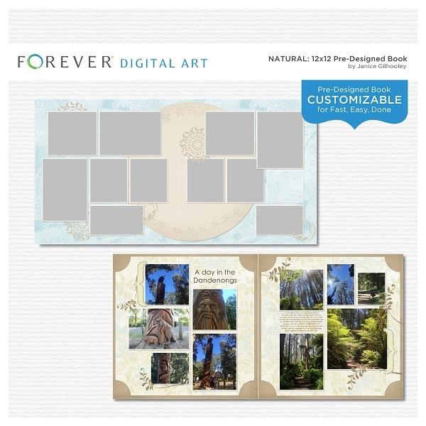 Natural Pre-designed Book 12x12 Digital Art - Digital Scrapbooking Kits