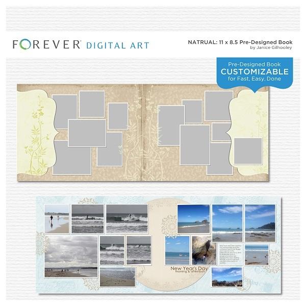 Natural Pre-designed Book 11 X 8.5 Digital Art - Digital Scrapbooking Kits