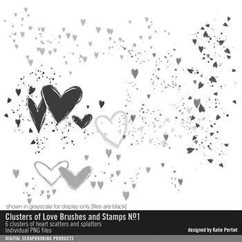 Clusters Of Love Brushes And Stamps No. 01 Digital Art - Digital Scrapbooking Kits