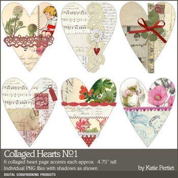 Collaged Hearts No. 01 Digital Art - Digital Scrapbooking Kits