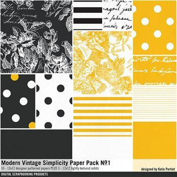 Modern Vintage Simplicity Paper Pack No. 01 Digital Art - Digital Scrapbooking Kits