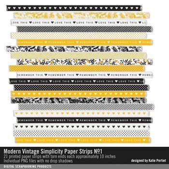 Modern Vintage Simplicity Paper Strips No. 01 Digital Art - Digital Scrapbooking Kits