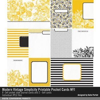 Modern Vintage Simplicity Printable Pocket Cards No. 01 Digital Art - Digital Scrapbooking Kits