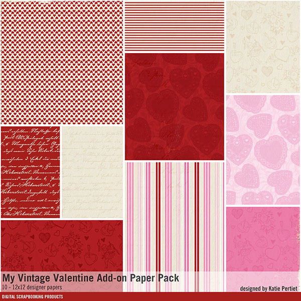 My Vintage Valentine Add-on Paper Pack
